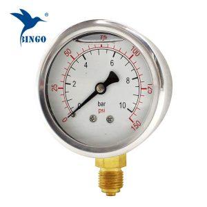 60 mm nehrdzavejúca oceľ puzdro mosadzné pripojenie spodný typ tlakomer 150PSI tlakomer naplnený olejom